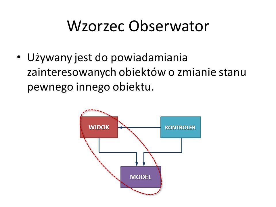 Wzorzec Obserwator Używany jest do powiadamiania zainteresowanych obiektów o zmianie stanu pewnego innego obiektu.