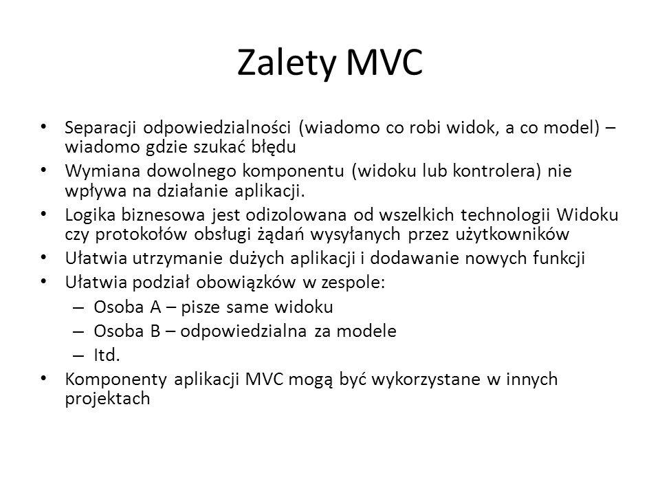 Zalety MVC Separacji odpowiedzialności (wiadomo co robi widok, a co model) – wiadomo gdzie szukać błędu.