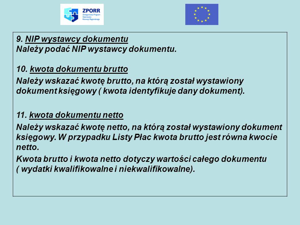 9. NIP wystawcy dokumentu