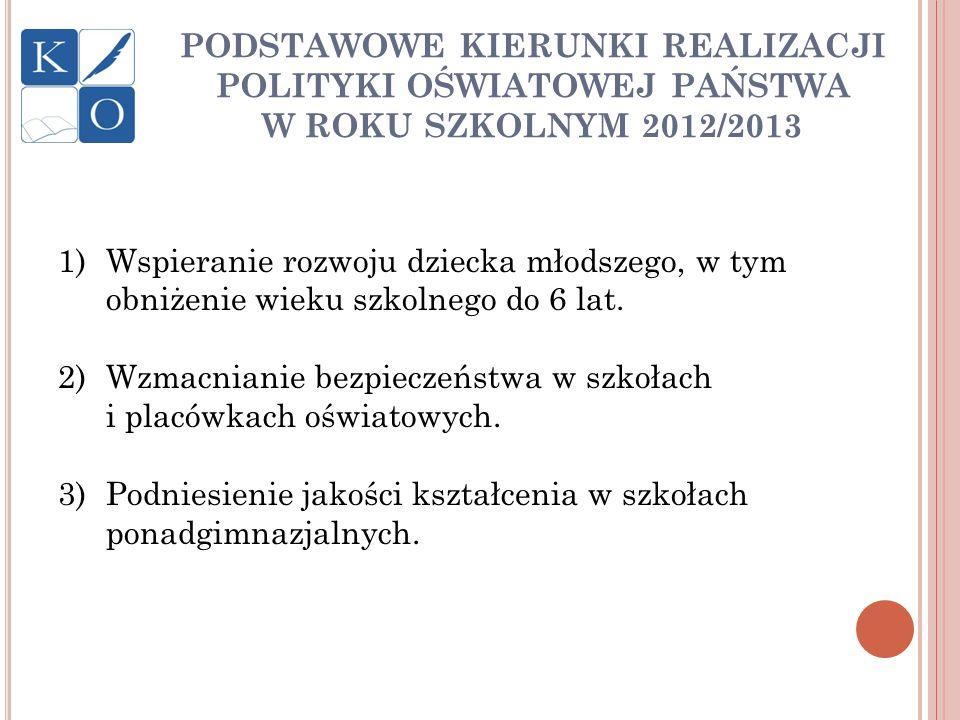 PODSTAWOWE KIERUNKI REALIZACJI POLITYKI OŚWIATOWEJ PAŃSTWA W ROKU SZKOLNYM 2012/2013