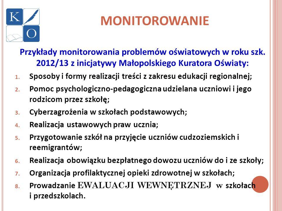 MONITOROWANIE Przykłady monitorowania problemów oświatowych w roku szk. 2012/13 z inicjatywy Małopolskiego Kuratora Oświaty: