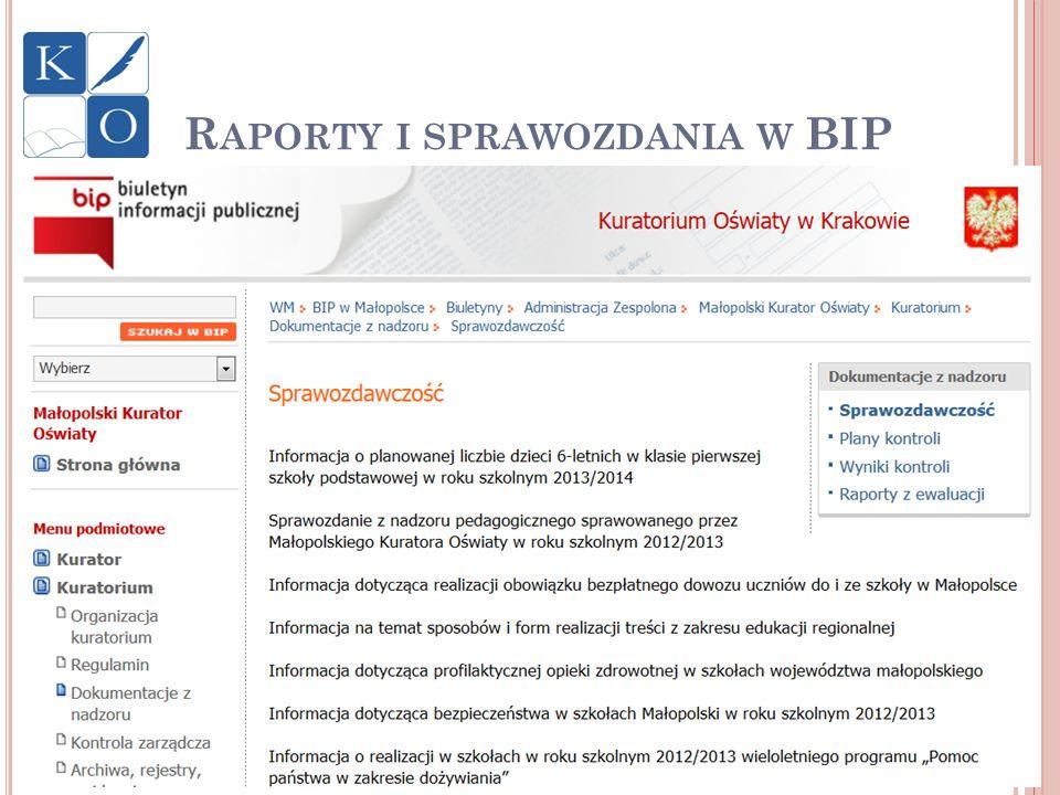 Raporty i sprawozdania w BIP
