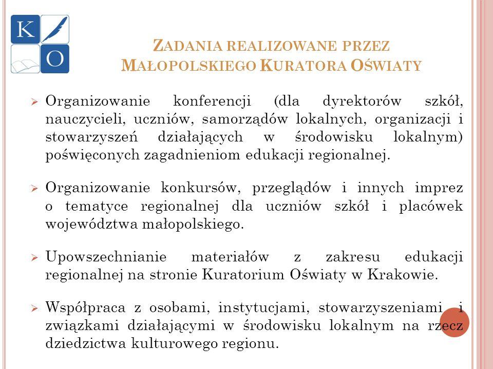 Zadania realizowane przez Małopolskiego Kuratora Oświaty