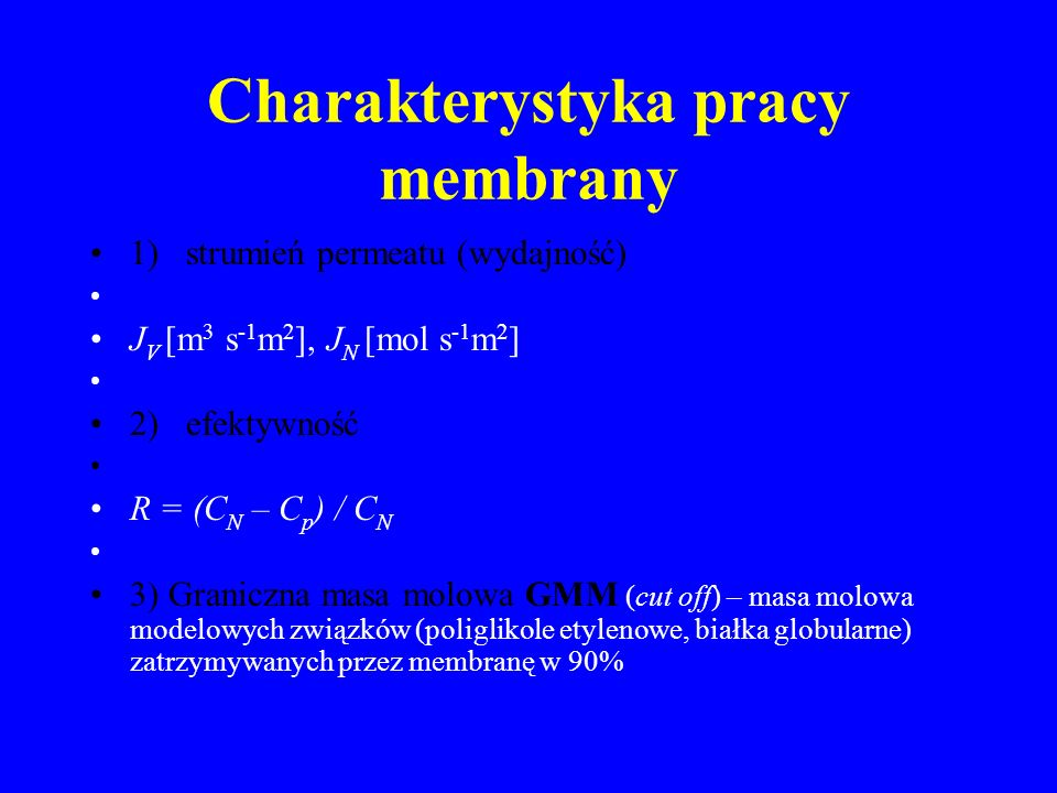 Charakterystyka pracy membrany