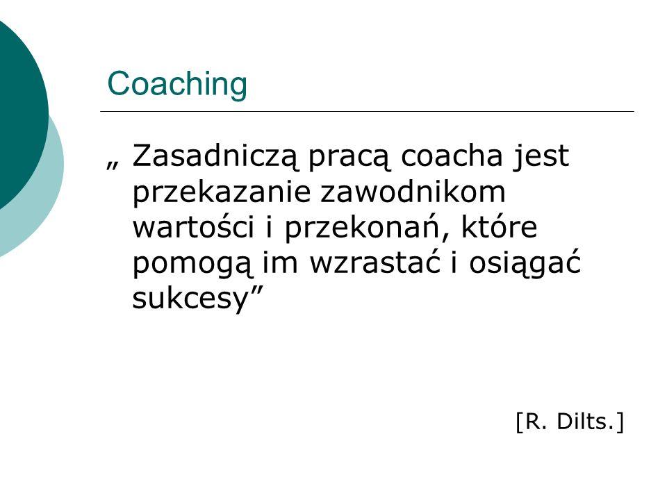 """Coaching """" Zasadniczą pracą coacha jest przekazanie zawodnikom wartości i przekonań, które pomogą im wzrastać i osiągać sukcesy"""