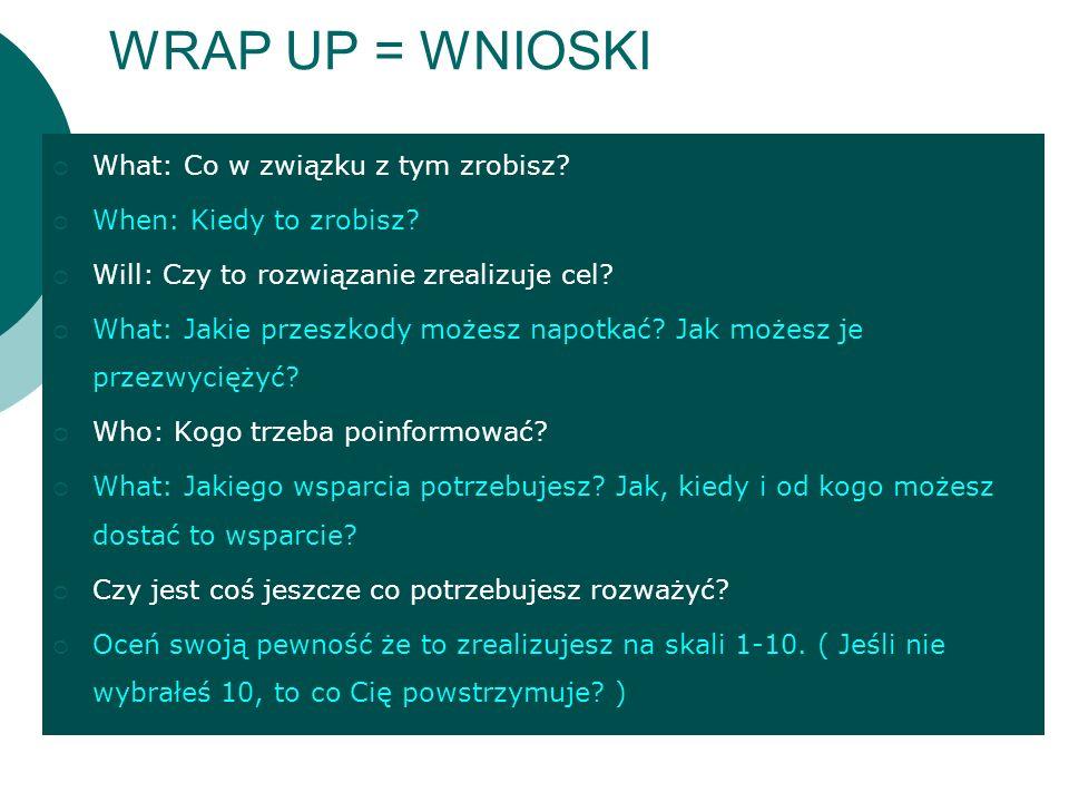 WRAP UP = WNIOSKI What: Co w związku z tym zrobisz