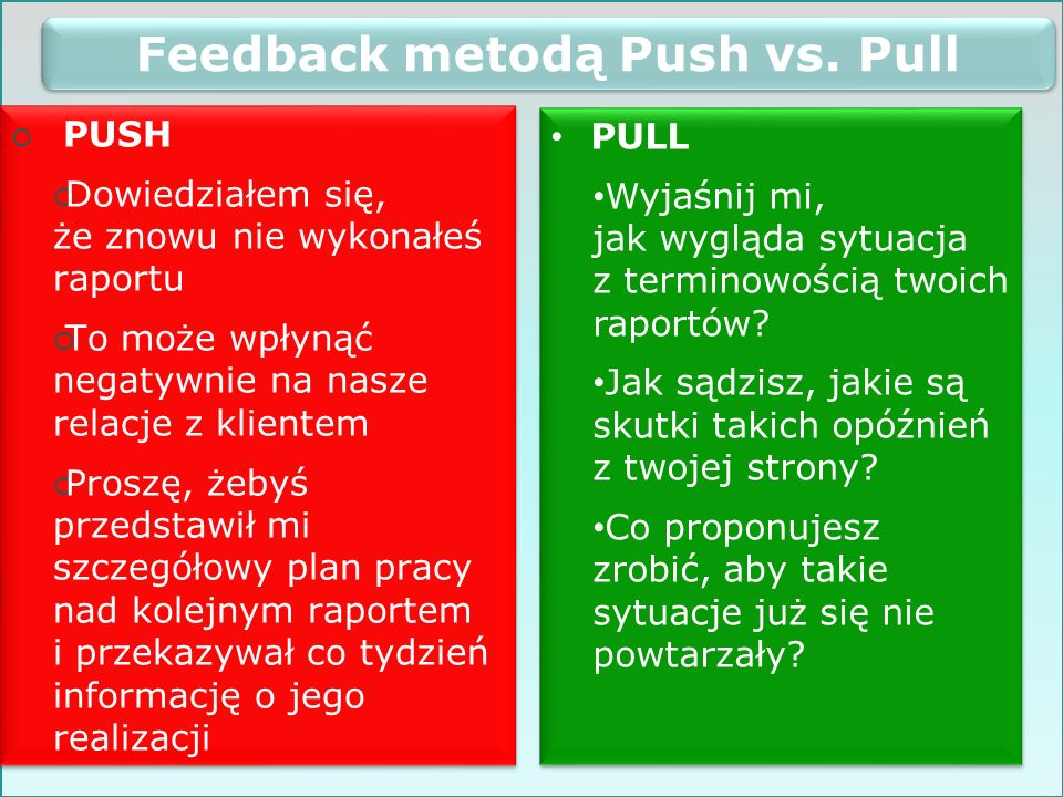 Feedback metodą Push vs. Pull