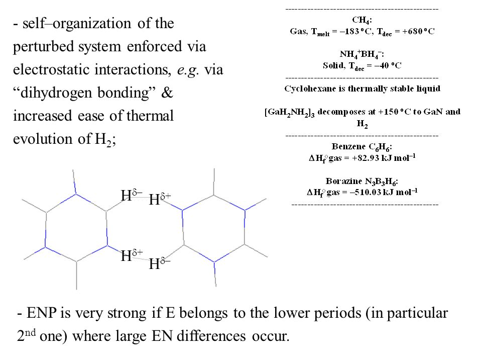self–organization of the perturbed system enforced via electrostatic interactions, e.g. via dihydrogen bonding & increased ease of thermal evolution of H2;