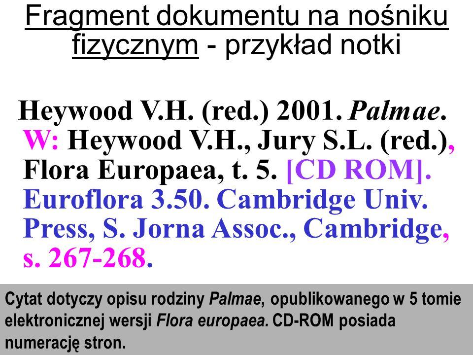 Fragment dokumentu na nośniku fizycznym - przykład notki