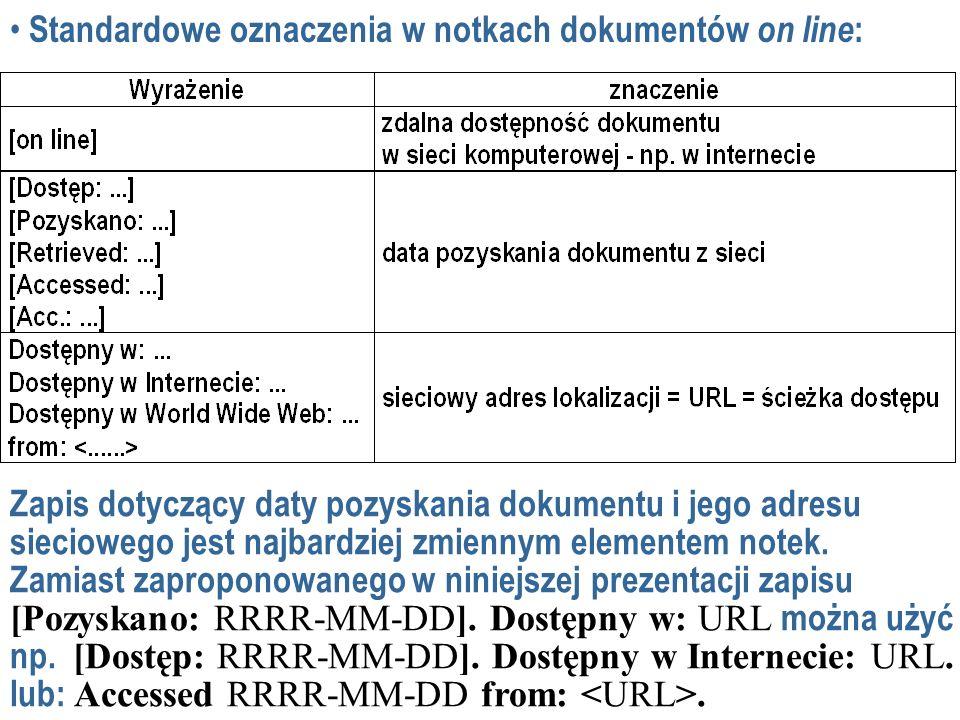 Standardowe oznaczenia w notkach dokumentów on line: