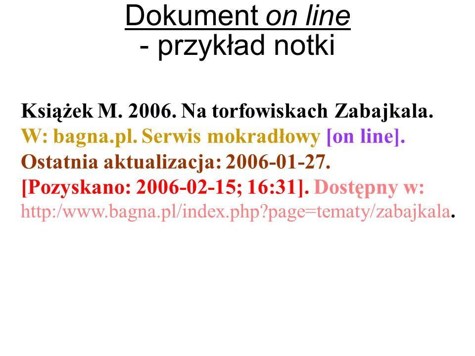 Dokument on line - przykład notki