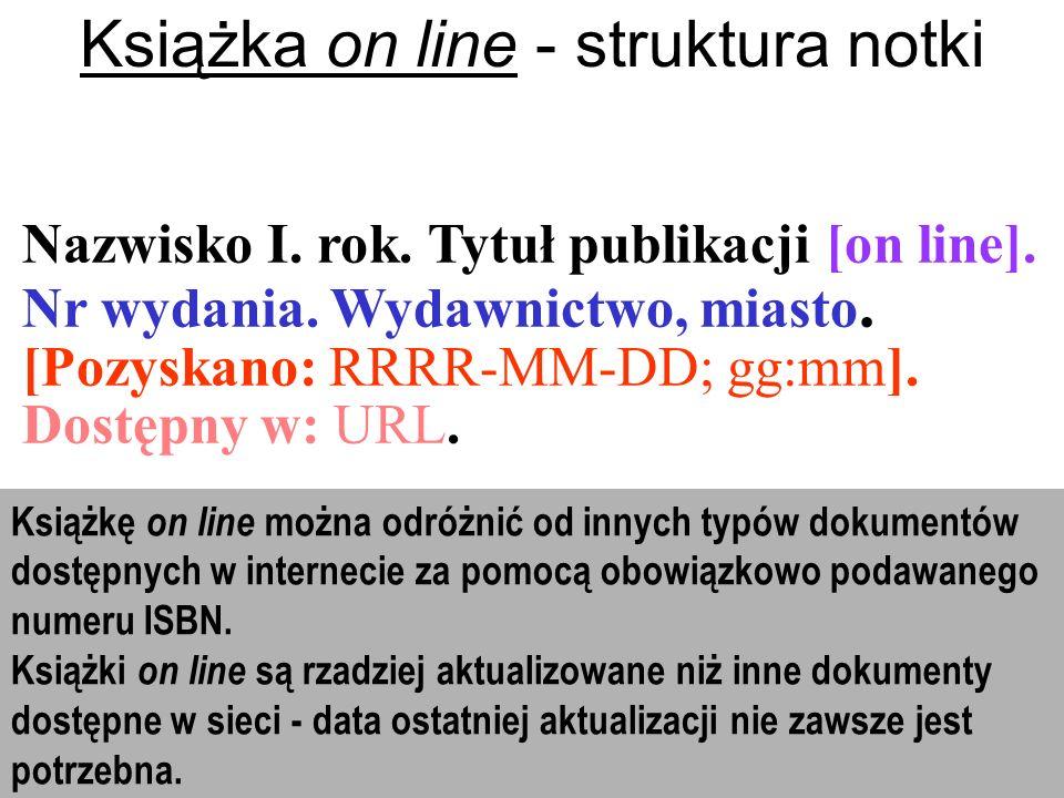 Książka on line - struktura notki