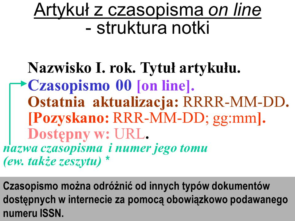 Artykuł z czasopisma on line - struktura notki