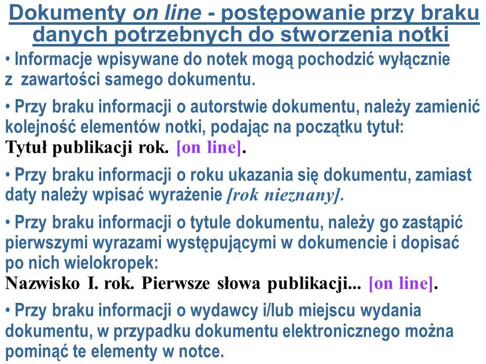 Dokumenty on line - postępowanie przy braku danych potrzebnych do stworzenia notki