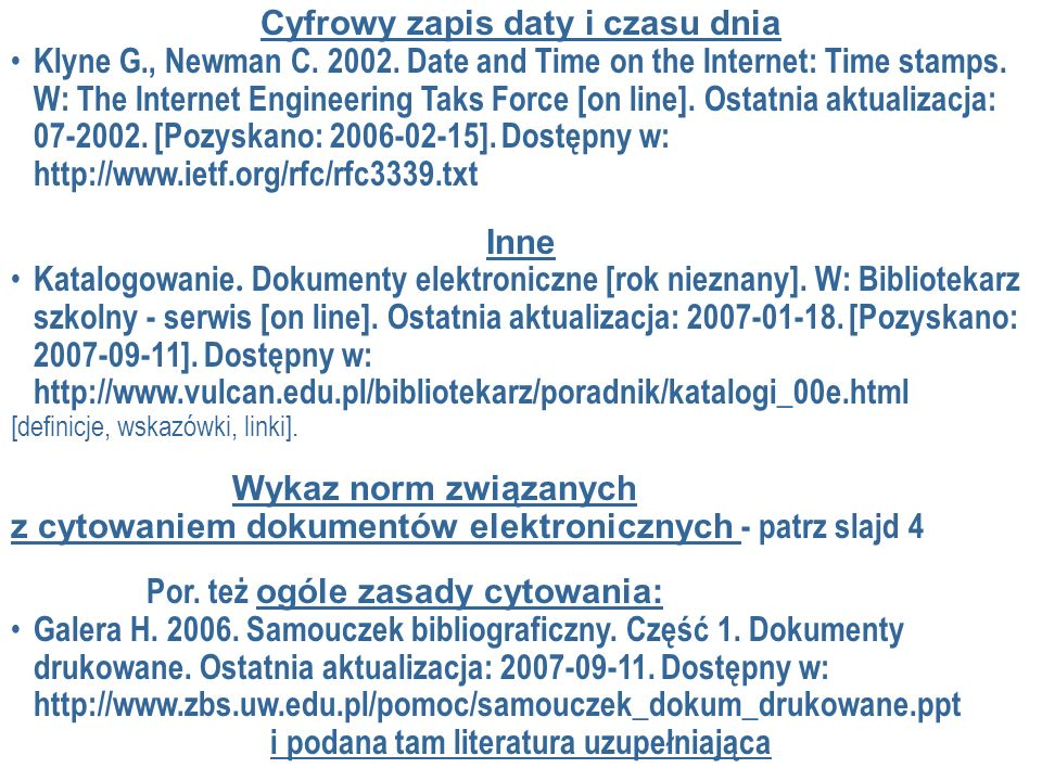 Cyfrowy zapis daty i czasu dnia i podana tam literatura uzupełniająca