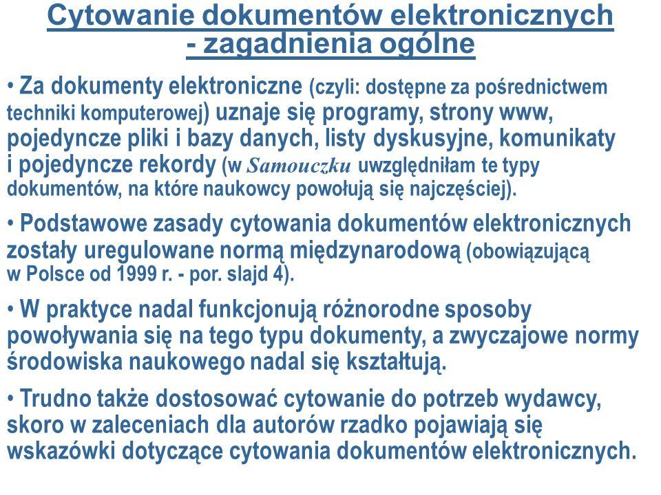 Cytowanie dokumentów elektronicznych - zagadnienia ogólne