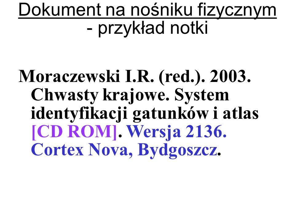 Dokument na nośniku fizycznym - przykład notki