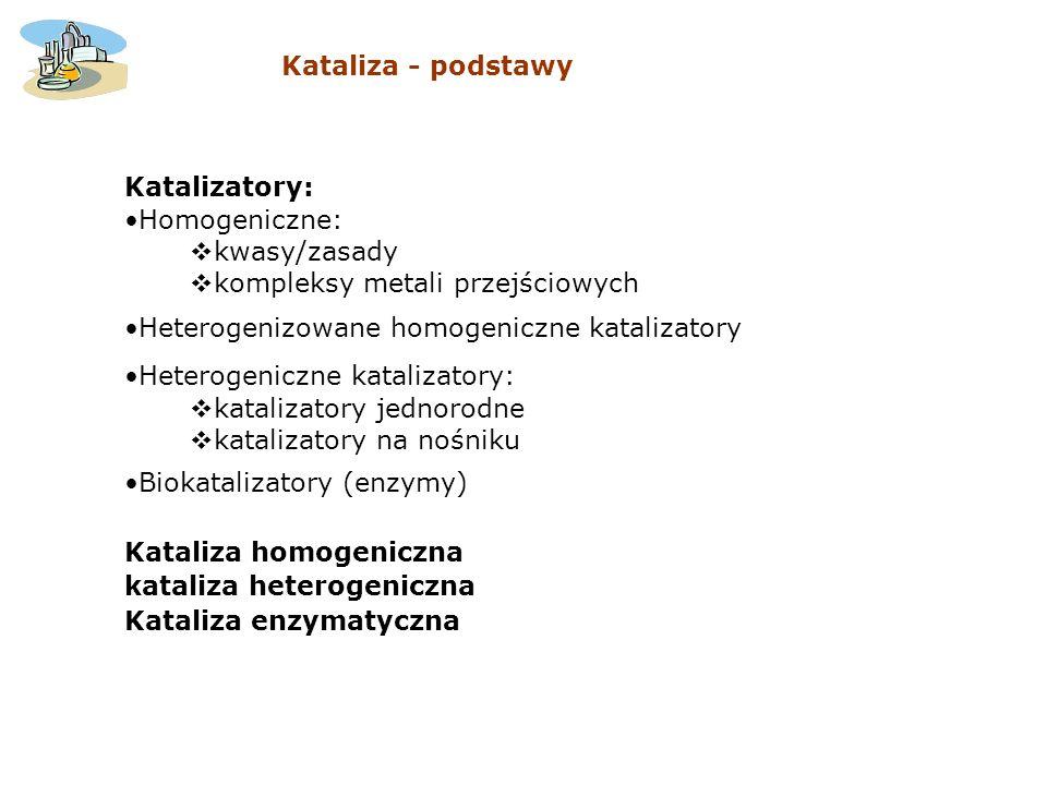 Kataliza - podstawy Katalizatory: Homogeniczne: kwasy/zasady. kompleksy metali przejściowych. Heterogenizowane homogeniczne katalizatory.