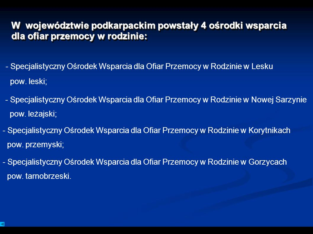 W województwie podkarpackim powstały 4 ośrodki wsparcia dla ofiar przemocy w rodzinie: