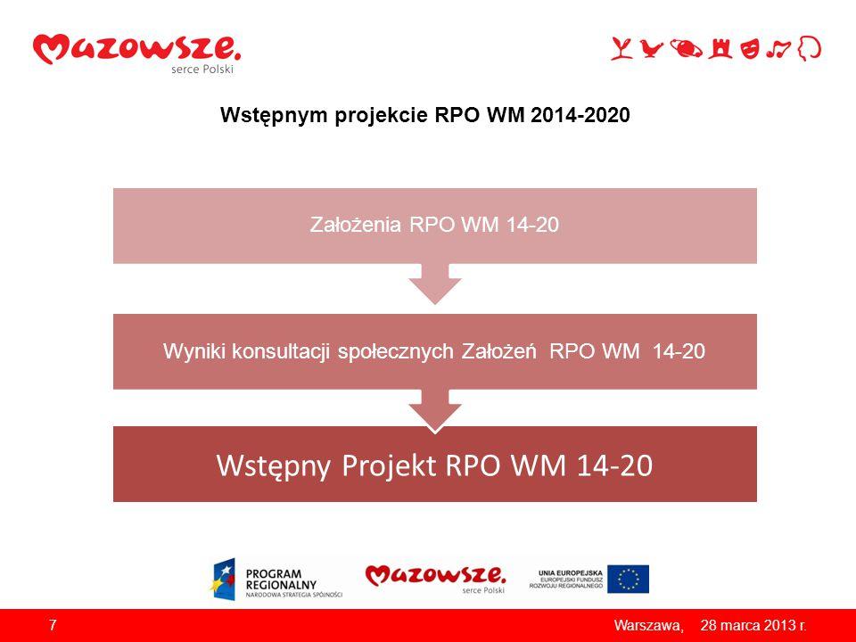 Wstępnym projekcie RPO WM 2014-2020