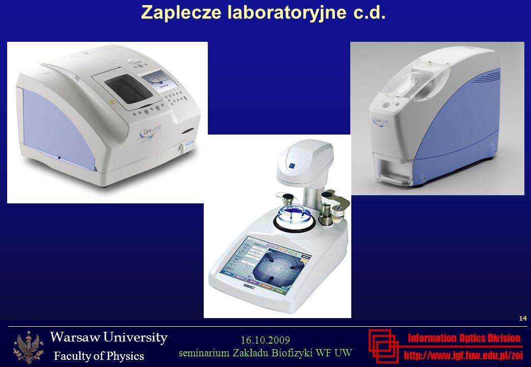 Zaplecze laboratoryjne c.d.