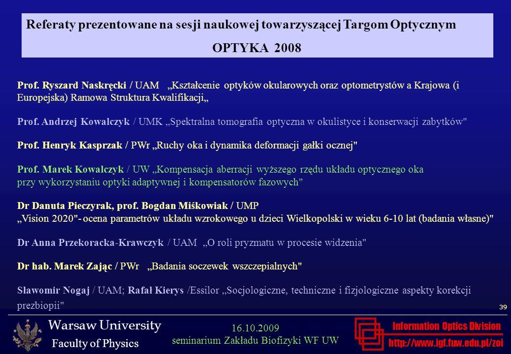 Referaty prezentowane na sesji naukowej towarzyszącej Targom Optycznym