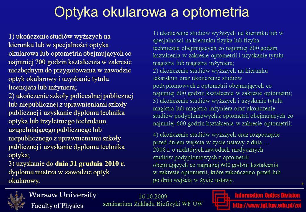 Optyka okularowa a optometria