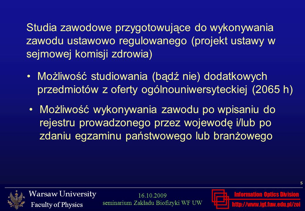 Studia zawodowe przygotowujące do wykonywania zawodu ustawowo regulowanego (projekt ustawy w sejmowej komisji zdrowia)