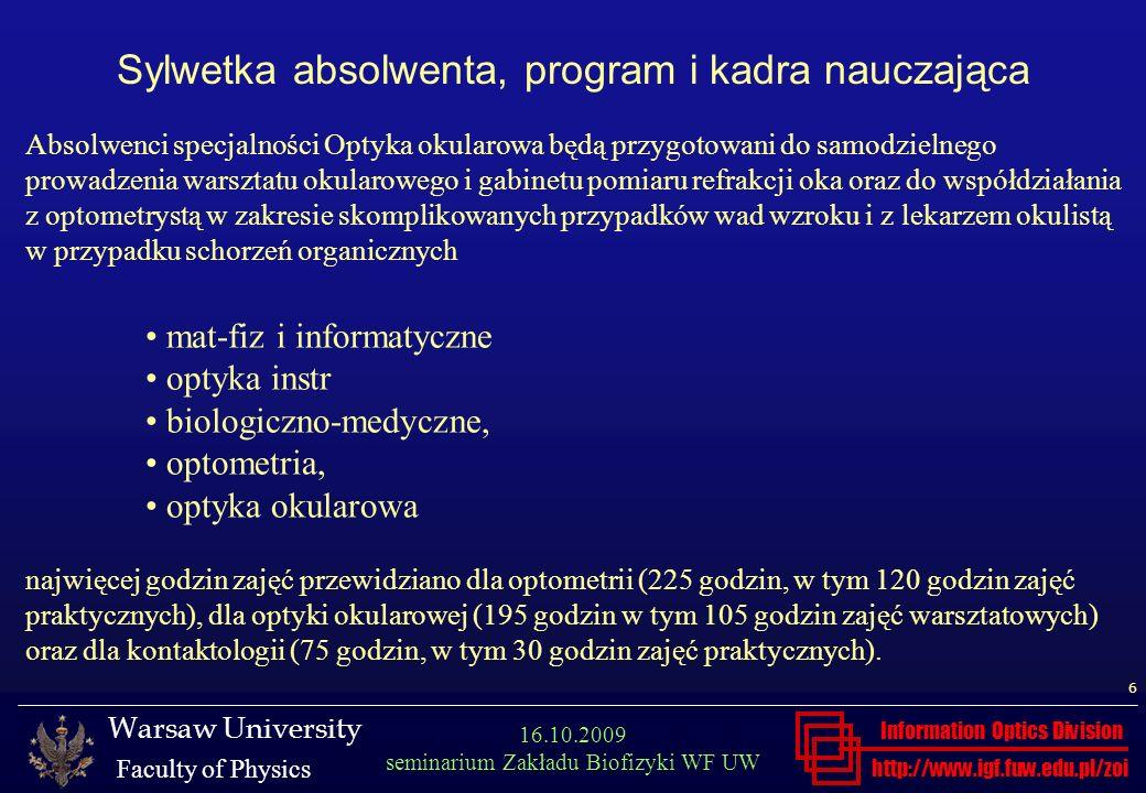Sylwetka absolwenta, program i kadra nauczająca