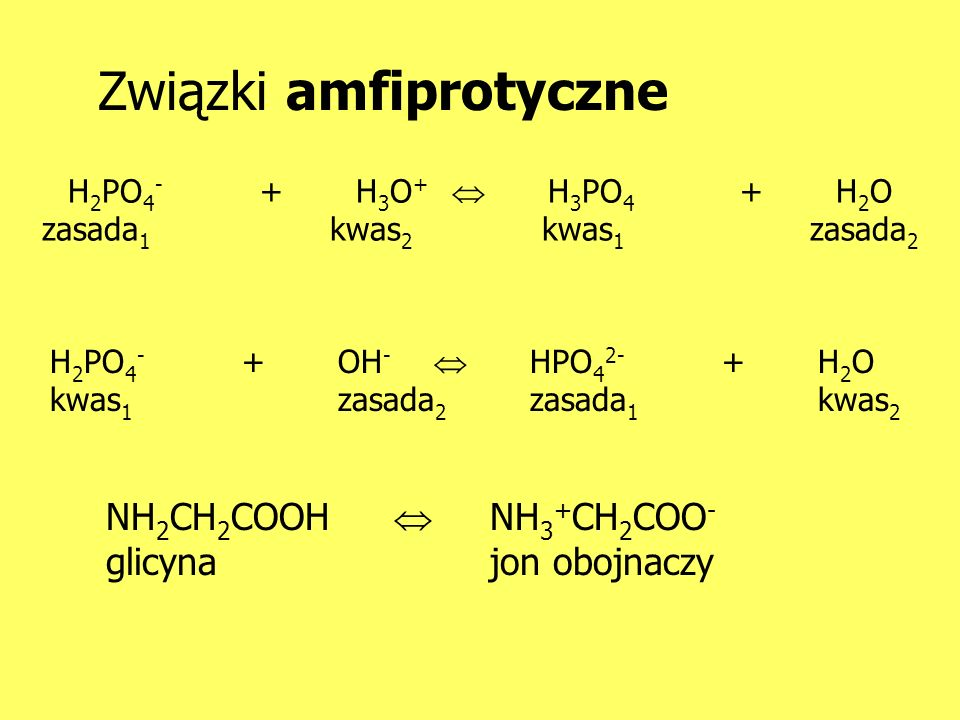 H2PO4- + H3O+  H3PO4 + H2O zasada1 kwas2 kwas1 zasada2