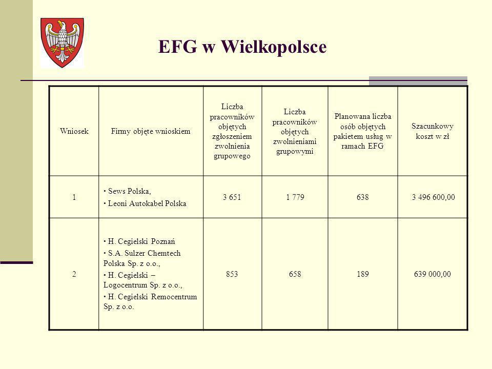 EFG w Wielkopolsce Wniosek Firmy objęte wnioskiem