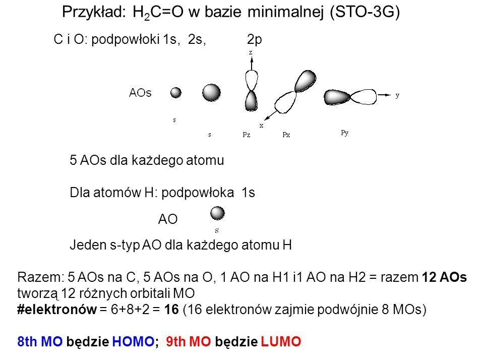 Przykład: H2C=O w bazie minimalnej (STO-3G)