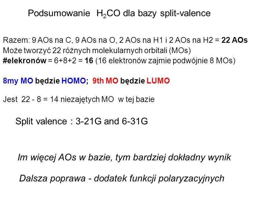 Podsumowanie H2CO dla bazy split-valence