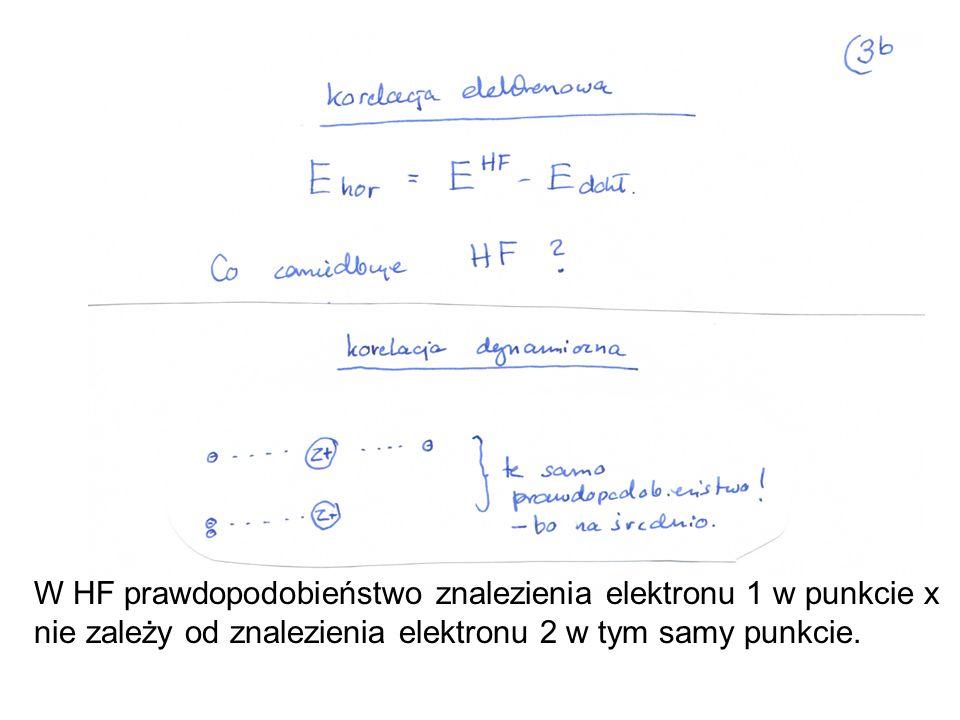 W HF prawdopodobieństwo znalezienia elektronu 1 w punkcie x