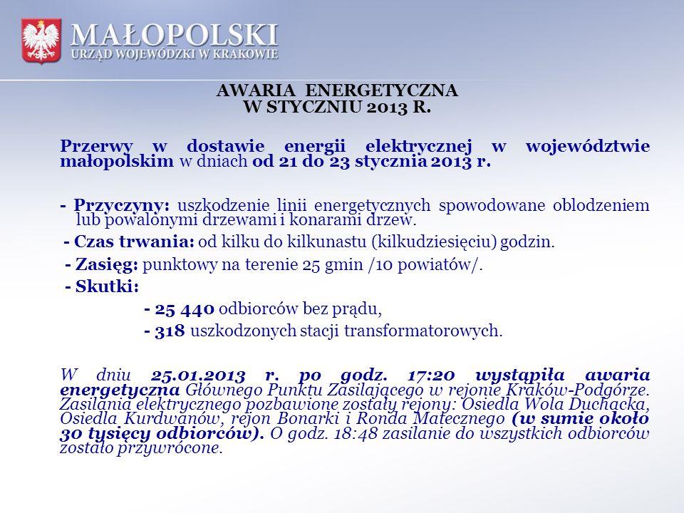 AWARIA ENERGETYCZNA W STYCZNIU 2013 R.