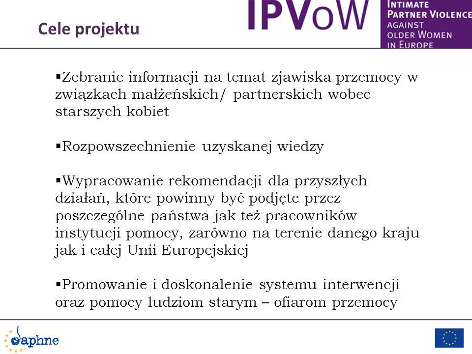 Cele projektu Zebranie informacji na temat zjawiska przemocy w związkach małżeńskich/ partnerskich wobec starszych kobiet.