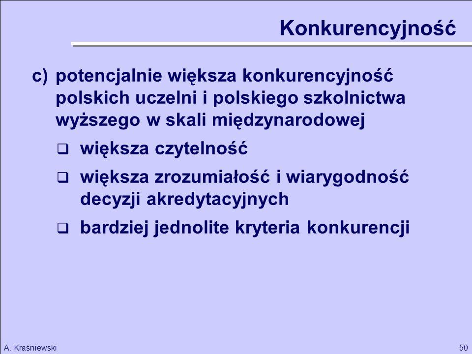 Konkurencyjność c) potencjalnie większa konkurencyjność polskich uczelni i polskiego szkolnictwa wyższego w skali międzynarodowej.