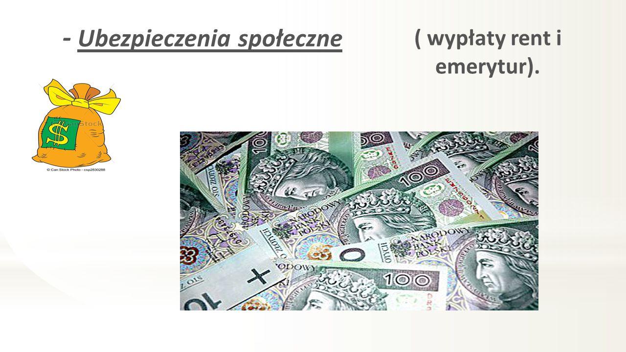 - Ubezpieczenia społeczne ( wypłaty rent i emerytur).