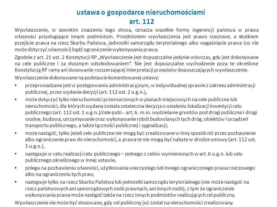 ustawa o gospodarce nieruchomościami art. 112