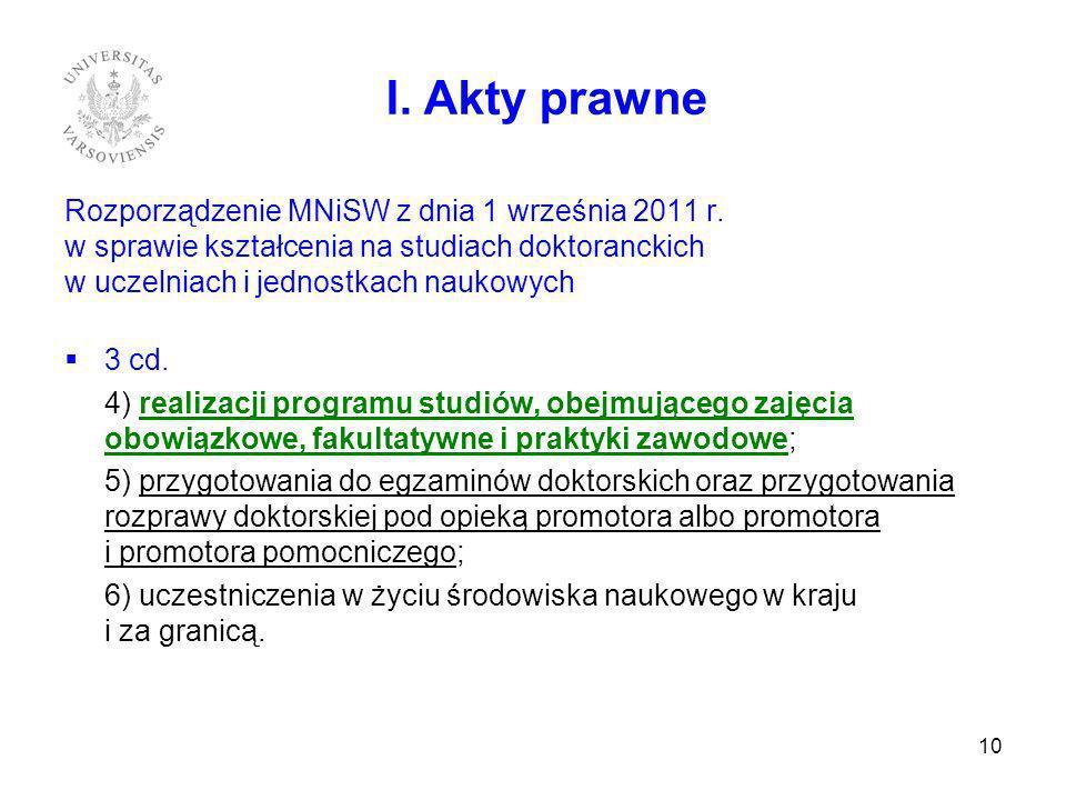 I. Akty prawne Rozporządzenie MNiSW z dnia 1 września 2011 r. w sprawie kształcenia na studiach doktoranckich w uczelniach i jednostkach naukowych.
