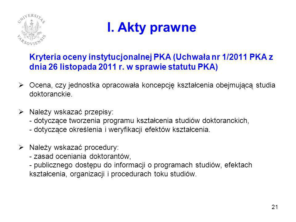 I. Akty prawne Kryteria oceny instytucjonalnej PKA (Uchwała nr 1/2011 PKA z dnia 26 listopada 2011 r. w sprawie statutu PKA)
