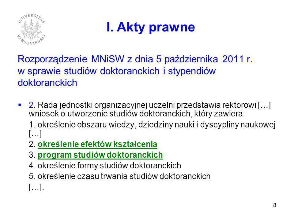 I. Akty prawne Rozporządzenie MNiSW z dnia 5 października 2011 r.