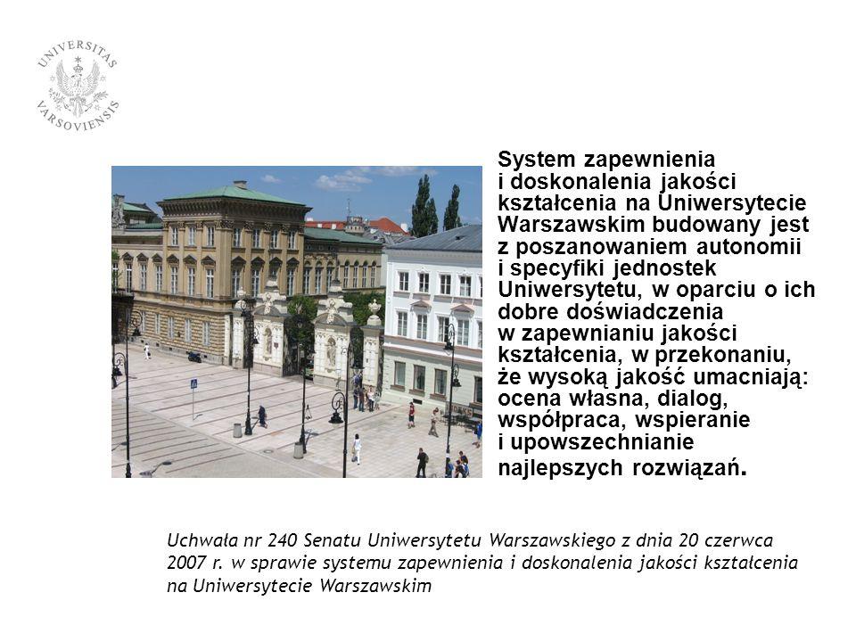 System zapewnienia i doskonalenia jakości kształcenia na Uniwersytecie Warszawskim budowany jest z poszanowaniem autonomii i specyfiki jednostek Uniwersytetu, w oparciu o ich dobre doświadczenia w zapewnianiu jakości kształcenia, w przekonaniu, że wysoką jakość umacniają: ocena własna, dialog, współpraca, wspieranie i upowszechnianie najlepszych rozwiązań.