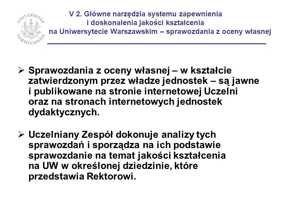 V 2. Główne narzędzia systemu zapewnienia i doskonalenia jakości kształcenia na Uniwersytecie Warszawskim – sprawozdania z oceny własnej ____________________________________________________________