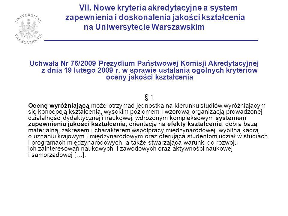 VII. Nowe kryteria akredytacyjne a system zapewnienia i doskonalenia jakości kształcenia na Uniwersytecie Warszawskim ___________________________________________________