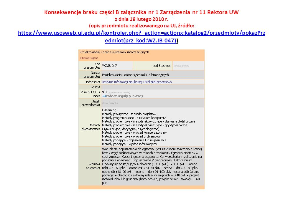 Konsekwencje braku części B załącznika nr 1 Zarządzenia nr 11 Rektora UW z dnia 19 lutego 2010 r.