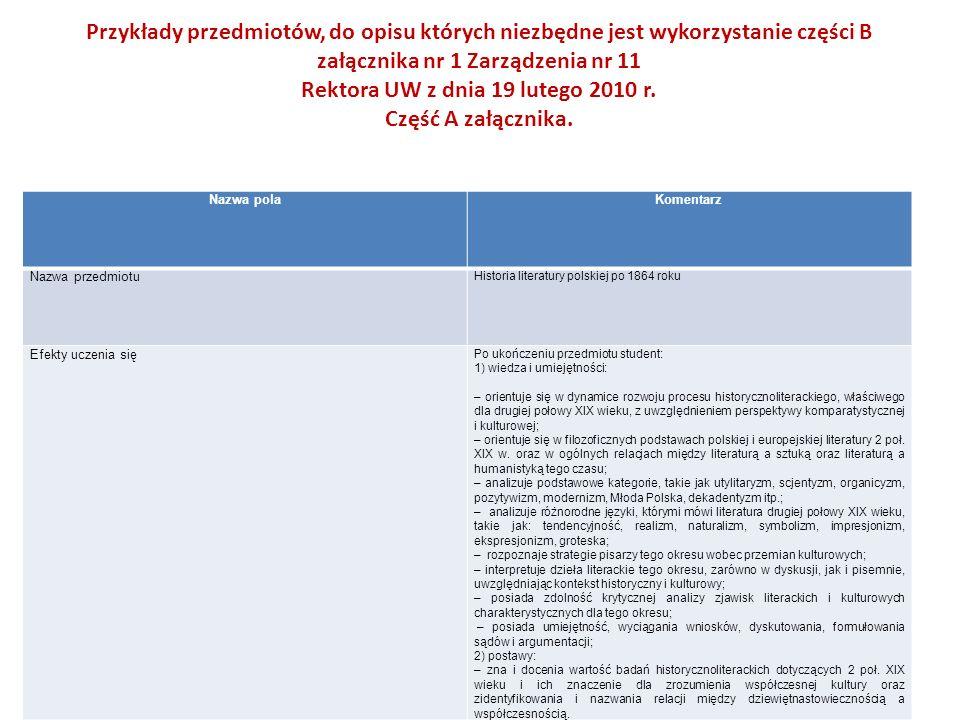 Przykłady przedmiotów, do opisu których niezbędne jest wykorzystanie części B załącznika nr 1 Zarządzenia nr 11 Rektora UW z dnia 19 lutego 2010 r. Część A załącznika.