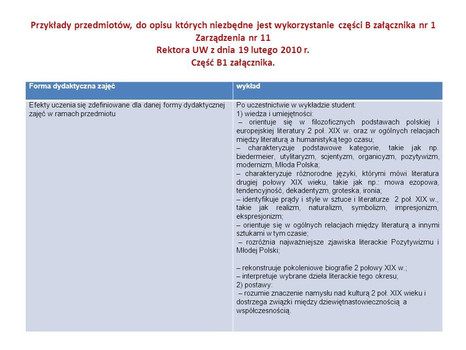 Przykłady przedmiotów, do opisu których niezbędne jest wykorzystanie części B załącznika nr 1 Zarządzenia nr 11 Rektora UW z dnia 19 lutego 2010 r. Część B1 załącznika.