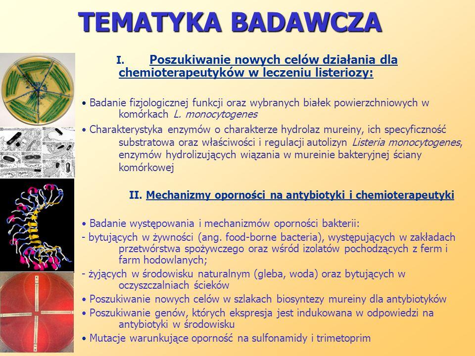 TEMATYKA BADAWCZA I. Poszukiwanie nowych celów działania dla chemioterapeutyków w leczeniu listeriozy: