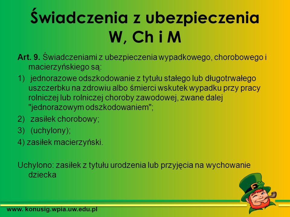 Świadczenia z ubezpieczenia W, Ch i M